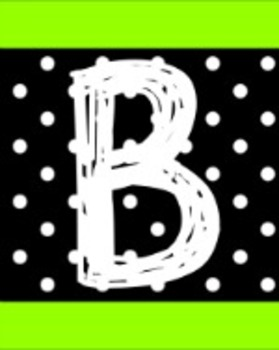 ALPHABET WALL LETTERS - BLACK AND NEON GREEN