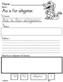 ALPHABET Word Work .. Read, Trace, Build, Write & Draw It Sentence Builder