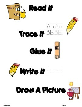 ALPHABET Word Work .. Read, Trace, Build, Write & Draw It Sentence Builder