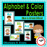 ALPHABET and COLOR POSTERS Blue and Green Theme Classroom Decor