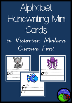 ALPHABET mini handwriting cards in VICTORIAN MODERN CURSIVE FONT