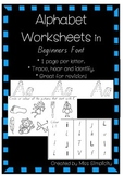 ALPHABET worksheets in BEGINNERS FONT