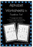 ALPHABET worksheets in FOUNDATION FONT