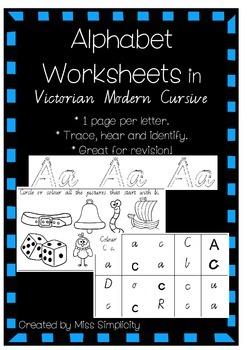 ALPHABET worksheets in VICTORIAN MODERN CURSIVE FONT