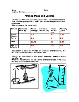 ALesson 04 05 and 06 Mass Volume and Density Answers