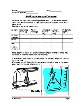 ALesson 04 Mass Volume Density Worksheet