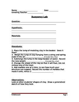 ALesson 16 Buoyancy Lab Worksheet