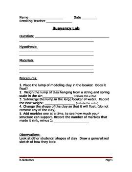 ALesson 16 Buoyancy Lab Worksheet