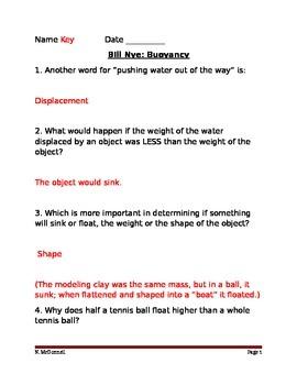 ALesson 18 Bill Nye Buoyancy Answers