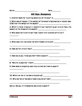 ALesson 18 Bill Nye Buoyancy Video Worksheet by Naomi McDonnell | TpT