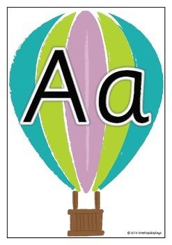 Alphabet on Hot Air Balloons - Upper and Lower Case