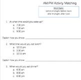 AM/PM Matching Activity  2.MD.3.7