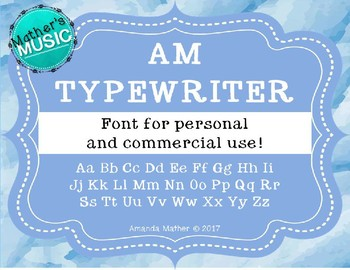 AM Typewriter Font - Commercial Use