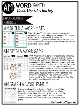 AM Word Family Word Work Activities