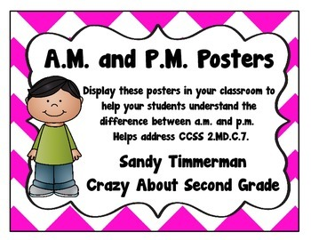 A.M. and P.M. Posters {Freebie} CCSS 2.MD.C.7