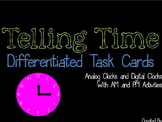AM and PM Task Cards using Analog and Digital Clocks - Differentiated