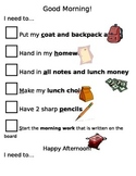 AM and PM routine checklist for students needing support
