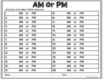 AM or PM Activity Set