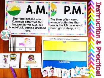 AM or PM Task Card and Sort FREEBIE