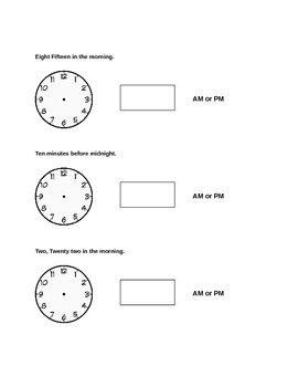 AM vs. PM/ Showing time on analog and digital clock Worksheet