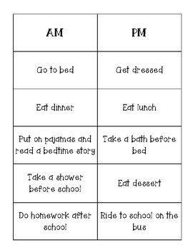 AM vs. PM Time of Day Math / Telling Time Center & Recording Sheet