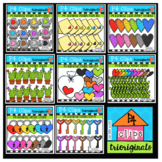 AMAZING 8 RAINBOW Hearts (Valentine Clipart) P4 Clips Trioriginals