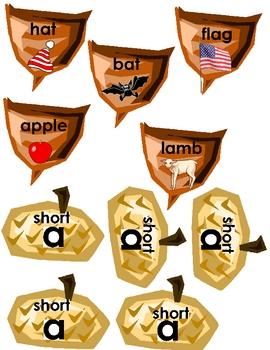 AMAZING ACORNS File Folder Reading Game short/long vowel a