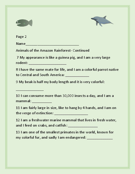 AMAZON RAINFOREST: AN ANIMAL KNOWLEDGE ACTIVITY, GRADES 4-8