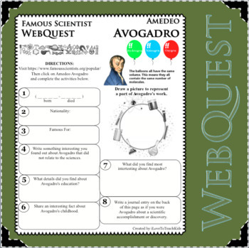 AMEDEO AVOGADRO - WebQuest in Science - Famous Scientist - Differentiated