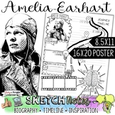 AMELIA EARHART, WOMEN'S HISTORY, BIOGRAPHY, TIMELINE, SKETCHNOTES, POSTER