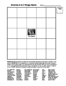 AMERICA HISTORY A to Z Bingo Game #2