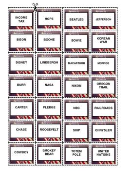 AMERICA HISTORY A to Z Bingo Game