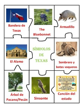 AMERICA and TEXAS SYMBOLS - CENTER - English & Spanish