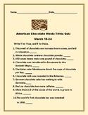 AMERICAN CHOCOLATE WEEK: MARCH 18-24/ TRIVIA QUIZ