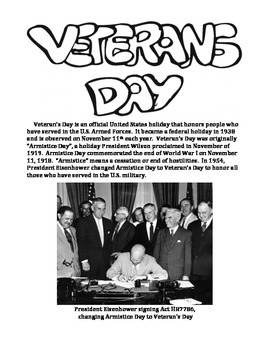 VETERAN'S DAY:  Informational Paragraphs and Coloring Activities