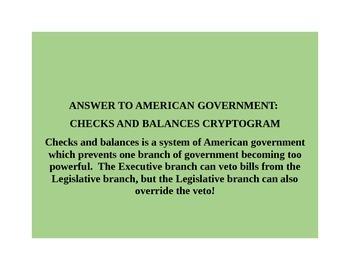 AMERICAN GOVERNMENT CRYPTOGRAM: CHECKS AND BALANCES