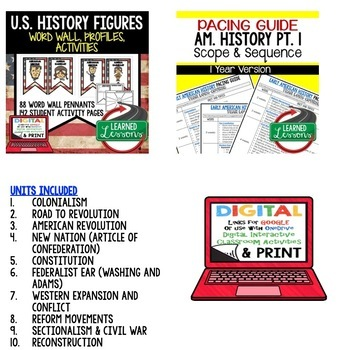 AMERICAN HISTORY MEGA BUNDLE COLONIALISM-RECONSTRUCTION