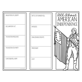 AMERICAN INDEPENDENCE Research Brochure Template, American History Project
