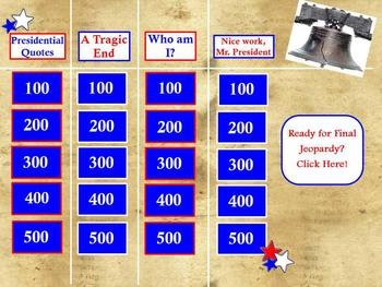 AMERICAN PRESIDENTIAL JEOPARDY GAME FLIPCHART ~ FUN HISTORY & FACTS ~ GRADES 5+