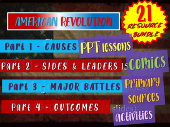 AMERICAN REVOLUTION! EPIC Bundle (21 PPTs, primary sources