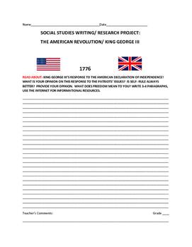 AMERICAN REVOLUTION & GEORGE III WRITING PROJECT