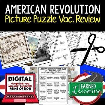 AMERICAN REVOLUTION Picture Puzzle Unit Review, Study Guide, Test Prep