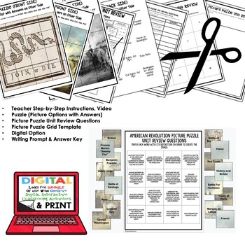 AMERICAN REVOLUTION Picture Puzzle Unit Review, Study Guide, Test Prep