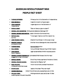 AMERICAN REVOLUTIONARY WAR PEOPLE FACT SHEET