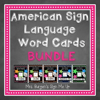 AMERICAN SIGN LANGUAGE WORD CARDS BUNDLE ALL SETS 1-10