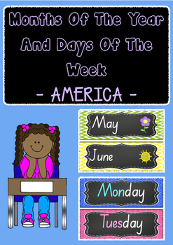 AMERICAN VERSION Months of the year and days of the week - display charts