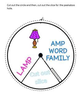 "AMP Word Family ""Cut and Paste"" (Rhyming Spinner Wheel)"