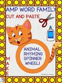 """AMP Word Family """"Cut and Paste"""" (Rhyming Spinner Wheel)"""