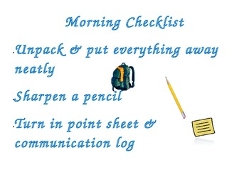 AM/PM Checklist for Students - Special Ed