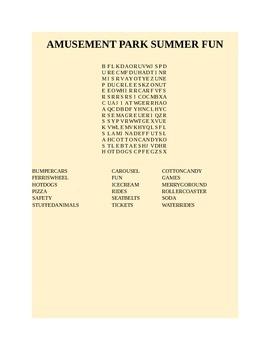 AMUSEMENT PARK SUMMER FUN WORD SEARCH